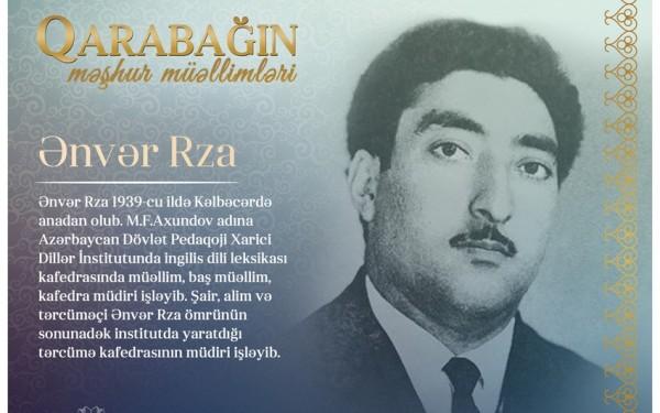"""""""Qarabağın məşhur müəllimləri"""" - Ənvər Rza"""