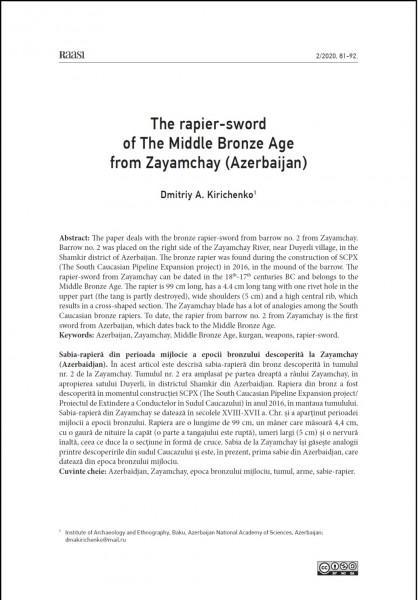 Beynəlxalq elmi jurnalda Zəyəmçay vadisindən tapılmış rapira-qılınc barədə məqalə dərc edilib