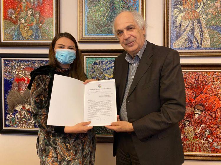 Qənirə Paşayeva Xalq artisti Ramiz Həsənoğlu ilə görüşüb