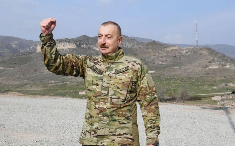 """İlham Əliyev yenilənmiş """"Cəbrayıla xoş gəlmisiniz"""" yazısının önündə -  VİDEO"""