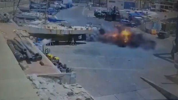 İsrailin liman şəhəri raket atəşinə tutulub -  VİDEO