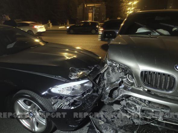 Nərimanovda iki avtomobil toqquşdu, xəsarət alan var -  FOTO
