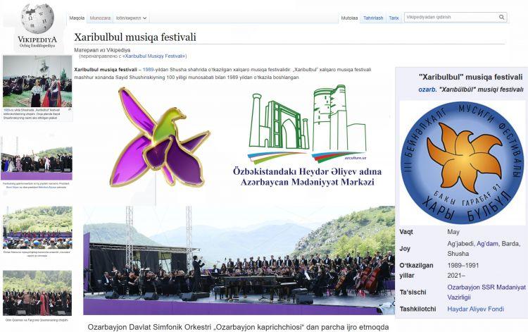 """Vikipediyada Özbək dilində """"Xarıbülbül"""" Beynəlxalq musiqi festivalı haqqında bölmə istifadəyə verildi"""