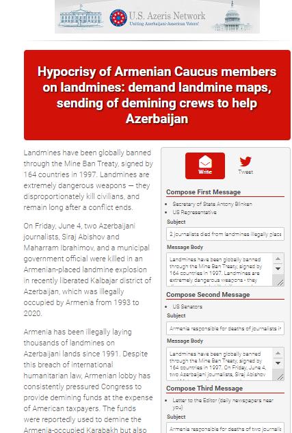 Amerika Azərbaycanlılar Şəbəkəsi məktub kampaniyasına başlayıb