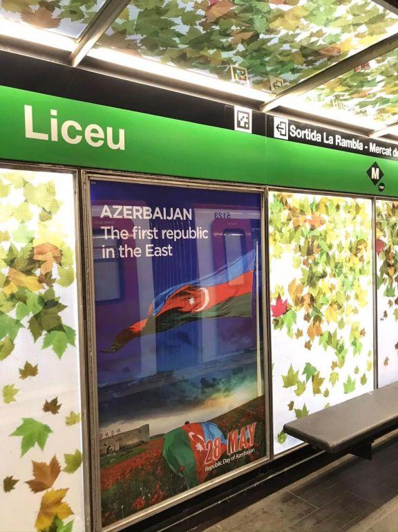 Barselona metrosunda Azərbaycanla bağlı məlumatlandırıcı bilbordlar quraşdırılıb