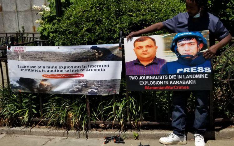 BMT-nin qarşısında azərbaycanlı jurnalistlər yad edilib -  FOTO