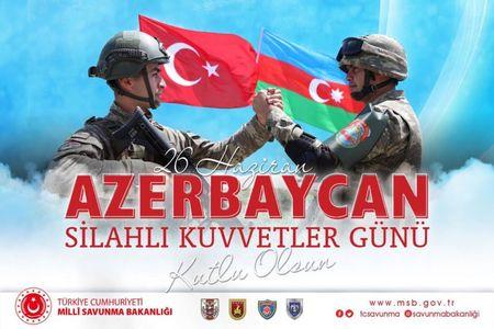 Türkiyə Müdafiə Nazirliyi Azərbaycan hərbçilərini təbrik edib