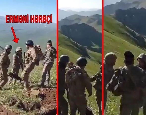 Azərbaycan əsgərləri erməni hərbçilərini sərhəddən qovdu -  VİDEO