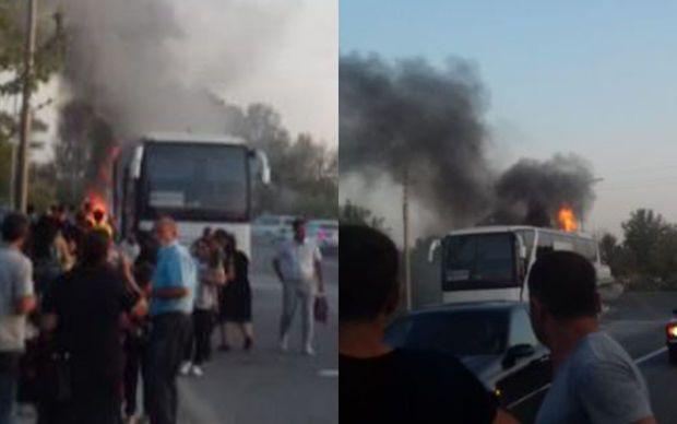 Bakıdan Mingəçevirə gedən sərnişin avtobusu yandı -  FOTO