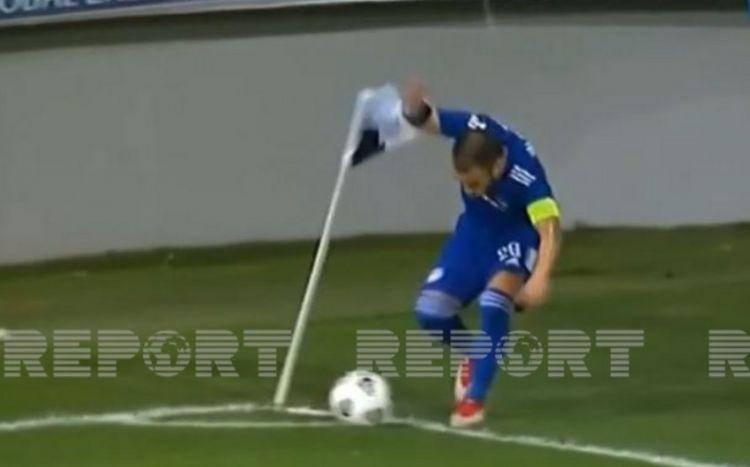 Bakı küləyi fransalı futbolçunu yaman çaşdırdı -  VİDEO