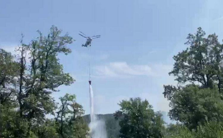 Lənkəranda yanğının söndürülməsinə helikopter cəlb olundu
