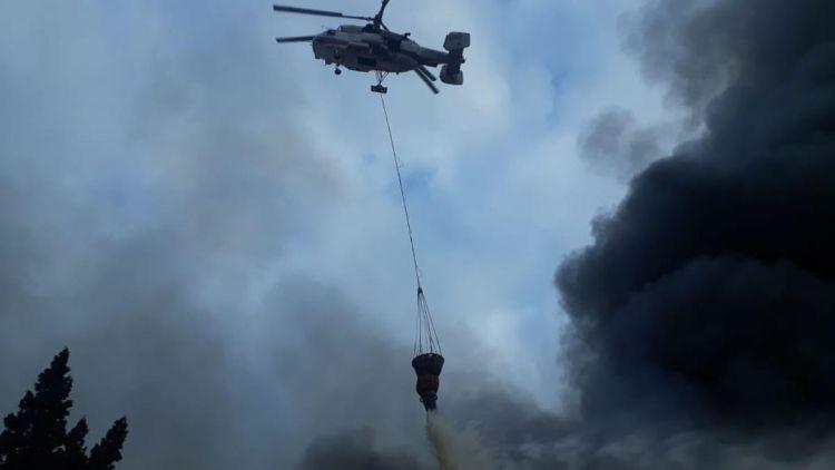 Ağsuda yanğını söndürmək üçün helikopter göndərildi
