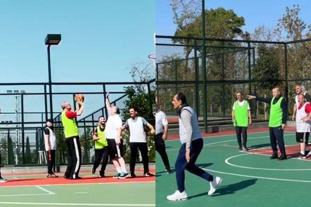 Ərdoğanın basketbol oynadığı oyundan görüntülər yayıldı -  VİDEO