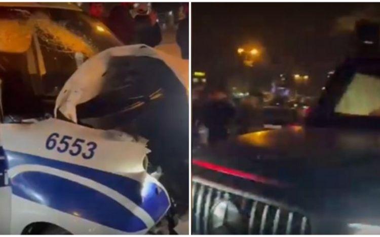 """Bakıda """"Gelandewagen"""" polis maşını ilə toqquşdu:  Xəsarət alan var - VİDEO"""