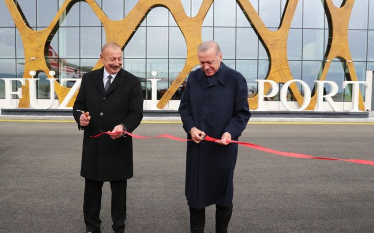 İlham Əliyev və Ərdoğan Füzuli Beynəlxalq Hava Limanının açılışını etdi