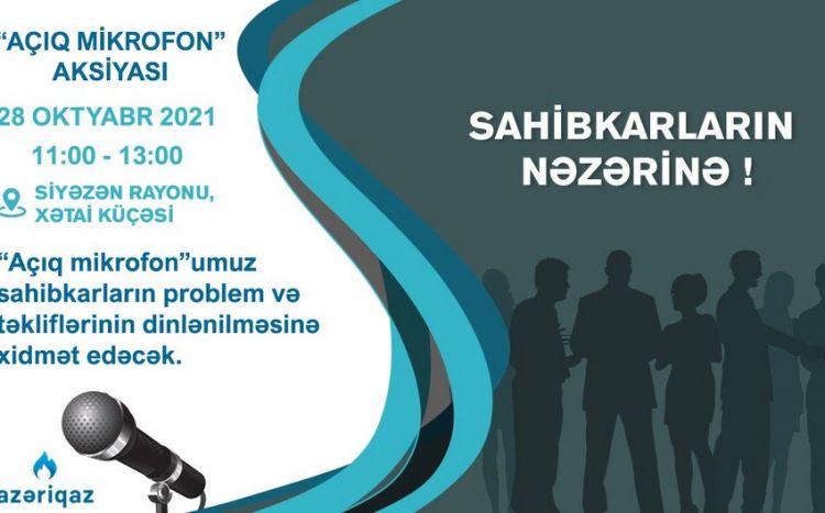 """""""Azəriqaz"""" Siyəzən sahibkarlarının problemini dinləyəcək"""